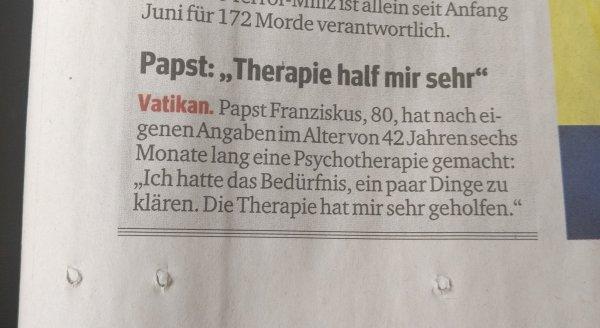 Papst Franziskus: Psychotherapie hat mir sehr geholfen.